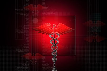 Digital illustration of Medical caduceus sign in 3d on digital background illustration