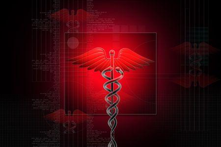 Digital illustration of Medical caduceus sign in 3d on digital background illustration