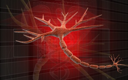 Digital illustration of Human neuron cell rendering in 3d on digital background Stock Photo