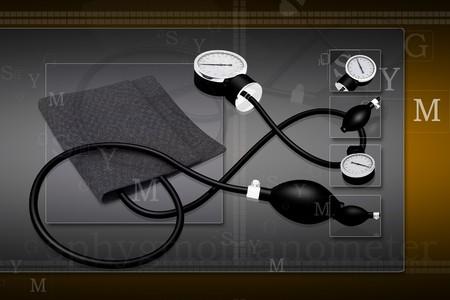 Black sphygmomanometer medical tool isolated on digital background photo