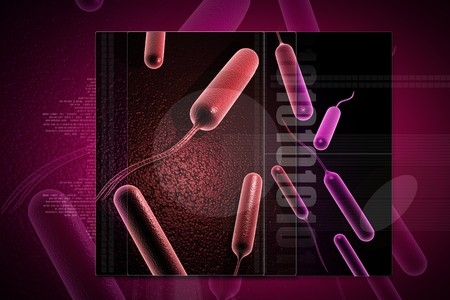 causative: Digital illustration of coli bacteria in 3d on digital background Stock Photo