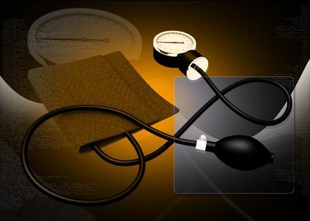 Black sphygmomanometer medical tool isolated on digital background Stock Photo - 6937502