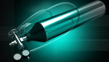 regulator: 3d generated illustration of Aluminium oxygen tank with regulator