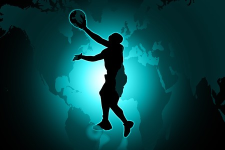 2d: 2d illustration of Basketball player  in color background Stock Photo
