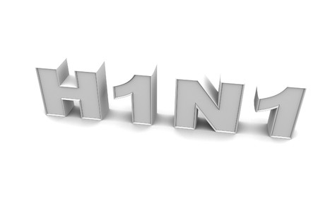 H1N1 is a dangerous virus in white background photo
