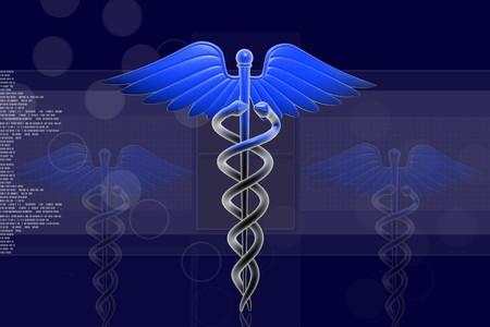 caduceo: Ilustración digital del caduceo Medical firmar en 3d sobre fondo digital  Foto de archivo