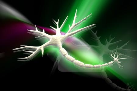 Digital illustration of neuron in 3d on digital background