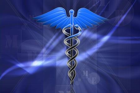 Digital illustration of Medical caduceus sign in 3d on digital background Stock Illustration - 8009001