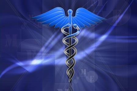 paramedic: Ilustración digital del caduceo Medical firmar en 3d sobre fondo digital  Foto de archivo