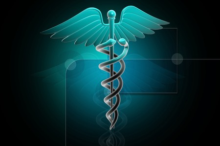 3d generated illustration of Medical caduceus sign in magenta on digital background illustration