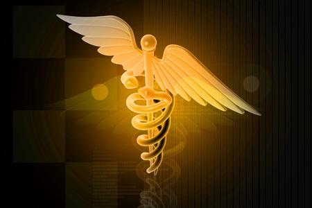 3d generated illustration of Medical caduceus sign in magenta on digital background illustration