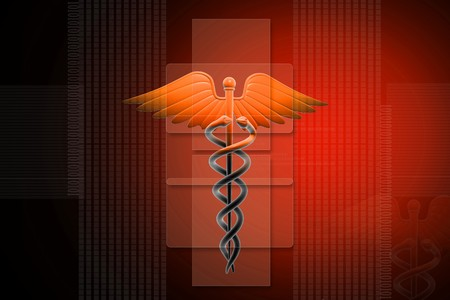 3d generated illustration of Medical caduceus sign in blue on digital background illustration