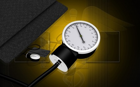 Black sphygmomanometer medical tool isolated on digital background photo