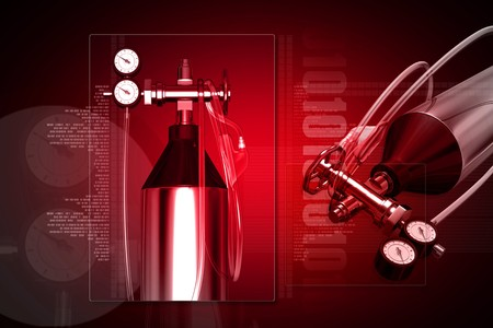 regulator: 3d generated illustration of Aluminum oxygen tank with regulator Stock Photo