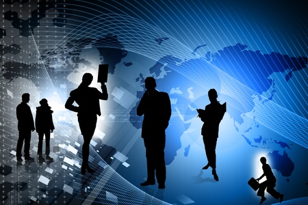 2D-Illustration Business-Mann in farbigem Hintergrund