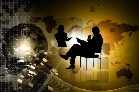 2d illustration of business man in color background illustration