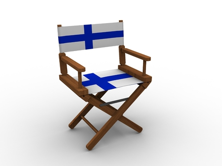 finland flag: Wooden Chair with Finland Flag