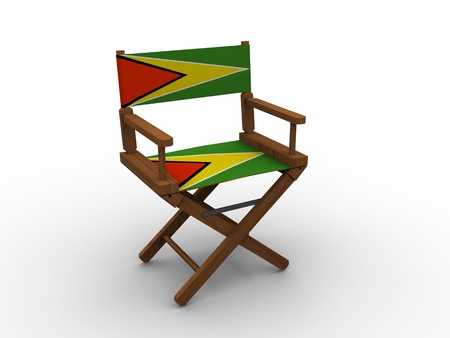 guyana: Wooden Chair with Guyana Flag Stock Photo