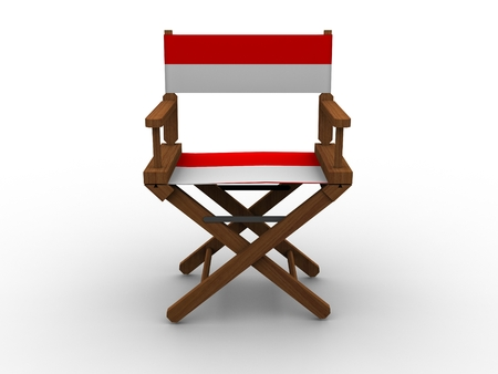 Wooden Chair with Monaco Flag photo