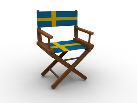 sweden flag: Sedia in legno con Svezia Bandiera Archivio Fotografico