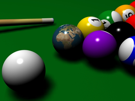 Billiard scene with Globe photo