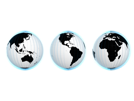 Rendered globe in different view photo
