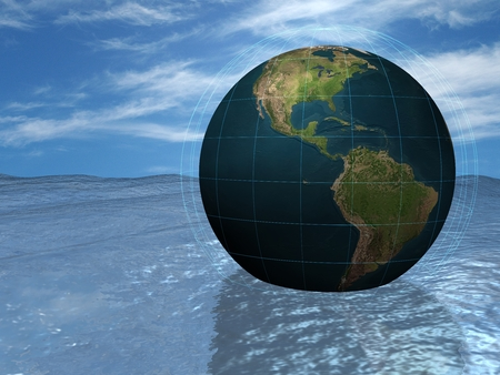 Globe in the water photo