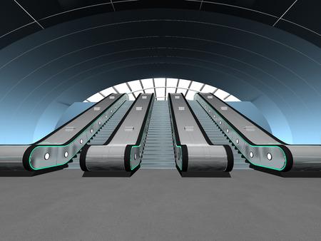 Interior scene - escalator photo
