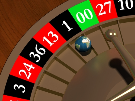 0 geography: Globe in the roulette Stock Photo