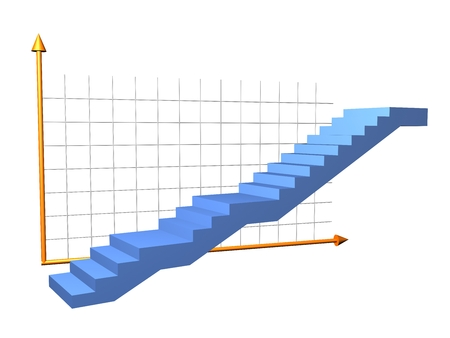 decline in values: Stairs to success Stock Photo