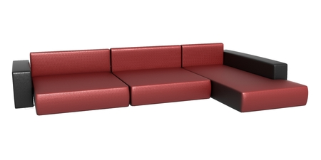 pieces of furniture: Red Leather couch Stock Photo