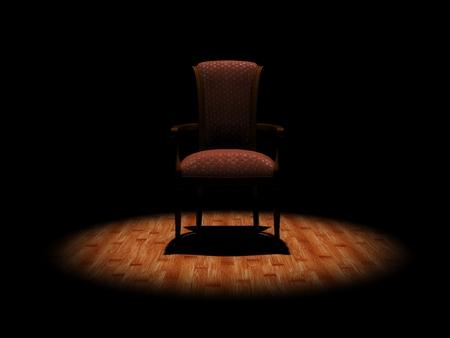 elbow chair: Wooden armchair - dark scene Stock Photo