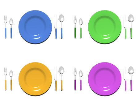 Colorfull plate sets photo
