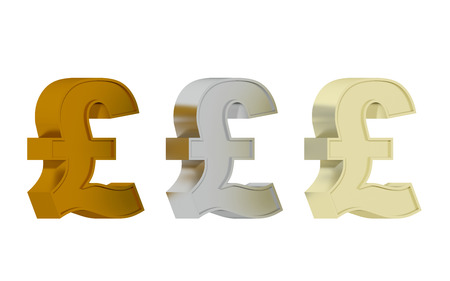 british pound: British pound sign - Three precious metals