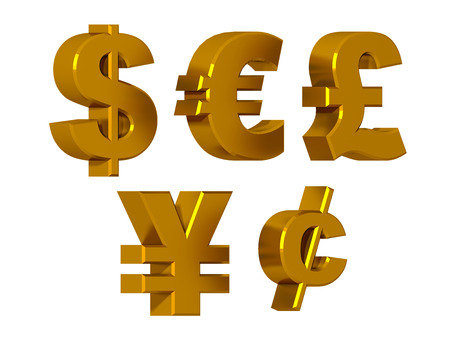 purchasing power: Currency symbols in gold