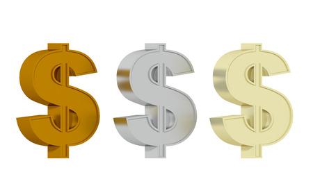American Dollar symbol - Three precious metals Stock Photo