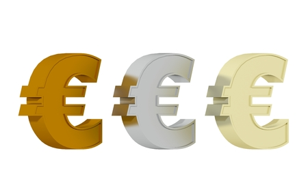 Euro symbol - Three precisious metals photo
