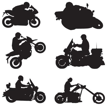 chauffeurs: Formes vectorielles isol�s de diff�rents pilotes de moto