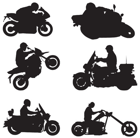 a white police motorcycle: Isolated vector shapes of Various Motorcycle Drivers