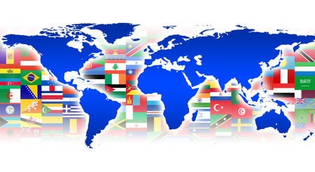 diversity of the region: Worldmap in Background with Flags