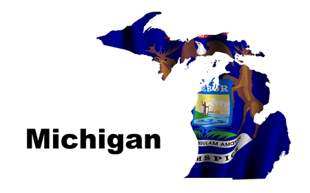 Michigan flag map photo