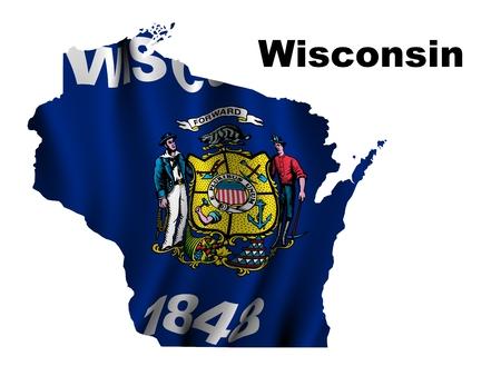 wisconsin flag: Wisconsin flag map Stock Photo