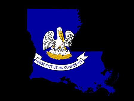 louisiana flag: Louisiana Flag as the territory Map on the Black Background Stock Photo