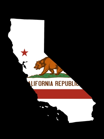 California Flag as the territory Map on the Black Background photo
