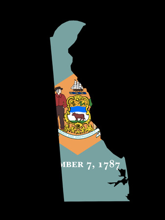 Delaware Flag as the territory Map on the Black Background photo