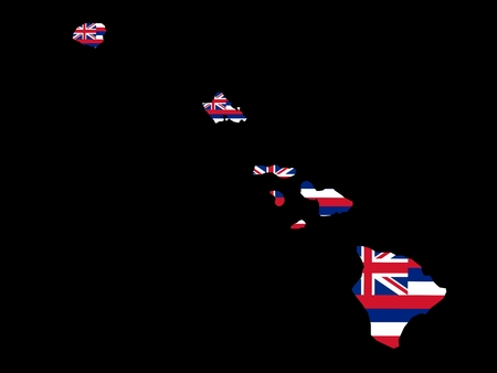 Hawaii Flag as the territory Map on the Black Background photo