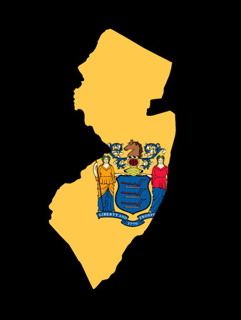 New Jersey Flag as the territory Map on the Black Background photo