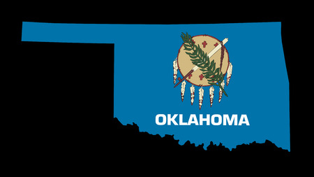 Oklahoma Flag as the territory Map on the Black Background photo