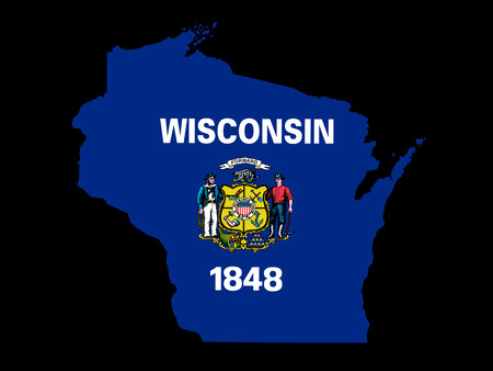 Wisconsin Flag as the territory Map on the Black Background photo