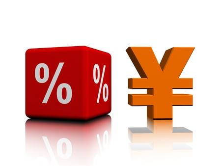 Yen next to the red percent cube Banco de Imagens